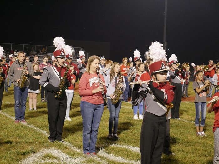 Marching band with alumni