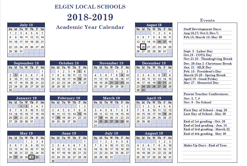 2018-2019 Elgin Academic Calendar